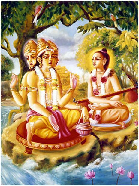 dewa brahma saat mengajarkan kalisantarana upanisad pada rsi narada